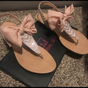 Material girl sandals with bow